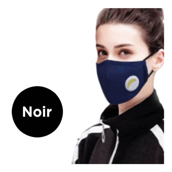Picture of REUSABLE FACE MASK WITH VALVE AND FILTER - BLACK